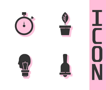 Set Ringing bell, Stopwatch, Light bulb with concept of idea and Plant pot icon. Vector