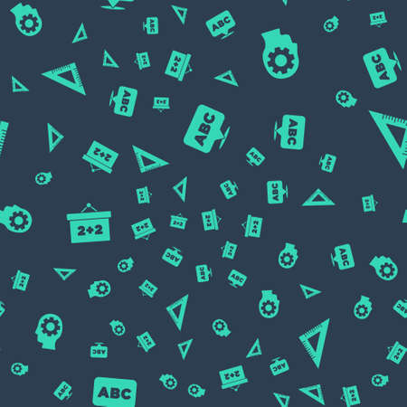 Set Alphabet, Head with gear inside, Chalkboard and Triangular ruler on seamless pattern. Vector
