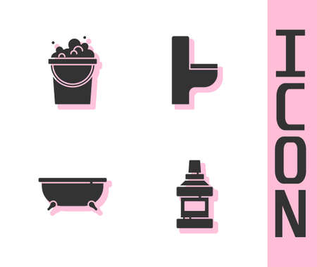 Set Mouthwash bottle, Bucket with soap suds, Bathtub and Toilet bowl icon. Vector