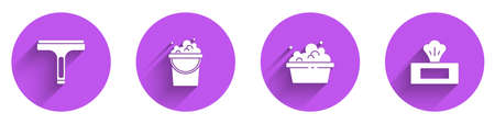 Set Rubber cleaner, Bucket with soap suds, Basin and Wet wipe pack icon with long shadow. Vector 일러스트