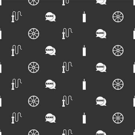 Set Dynamite bomb, Old wooden wheel, Leather whip and Bang boom, gun Comic on seamless pattern. Vector Vettoriali