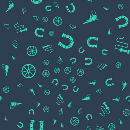 Set Horseshoe, Revolver gun, Old wooden wheel and Leather whip on seamless pattern. Vector