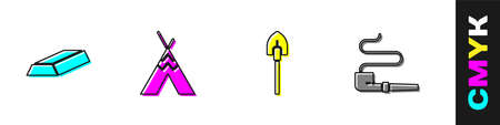 Set Gold bars, Indian teepee or wigwam, Shovel and Smoking pipe icon. Vector