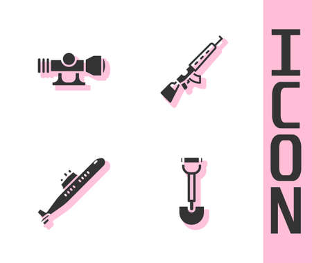 Set Sapper shovel, Sniper optical sight, Submarine and rifle with scope icon. Vector