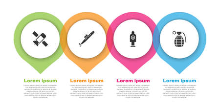 Set Satellite, Submarine, Human target sport for shooting and Hand grenade. Business infographic template. Vector