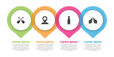 Set Paddle, Location, Bottle of water and Tourist tent. Business infographic template. Vector