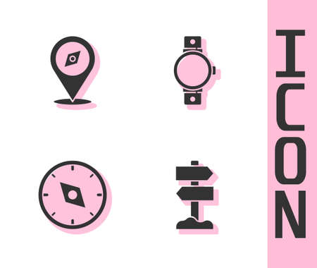 Set Road traffic signpost, Compass, and Smartwatch icon. Vector