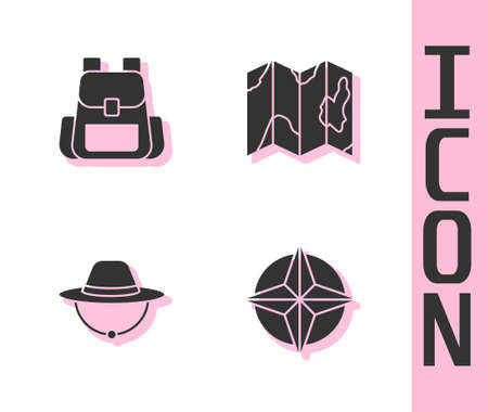 Set Wind rose, Hiking backpack, Camping hat and Location of the forest on map icon. Vector