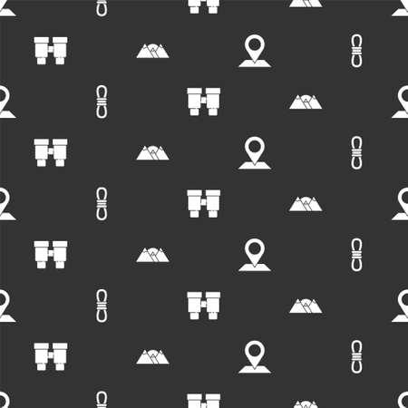 Set Location, Climber rope, Binoculars and Mountains on seamless pattern. Vector Ilustracja