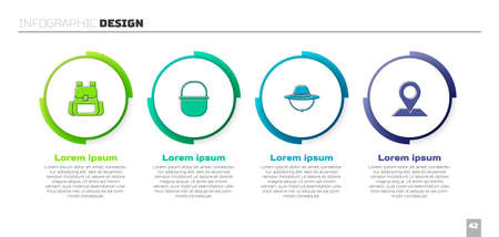 Set Hiking backpack, Camping pot, hat and Location. Business infographic template. Vector