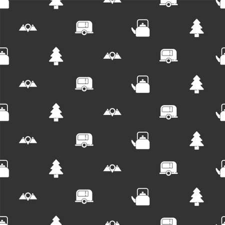 Set Kettle with handle, Forest, Location mountains and Rv Camping trailer on seamless pattern. Vector