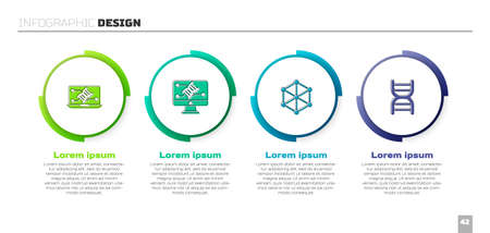 Set Genetic engineering modification, , GMO and DNA symbol. Business infographic template. Vector