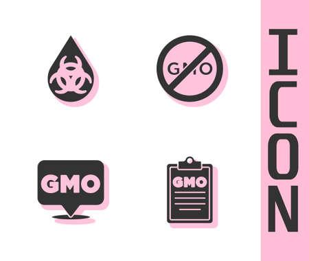Set GMO, , and No icon isolated. Vector Ilustracja