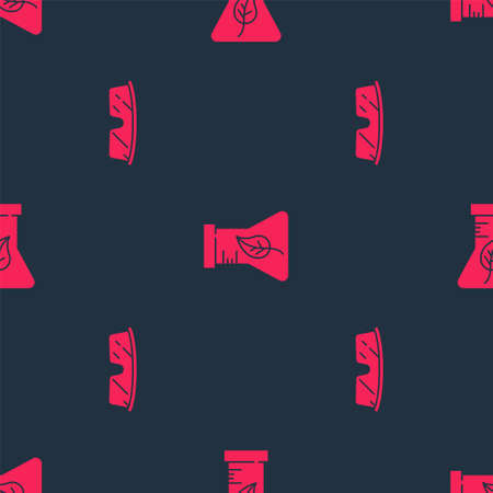 Set Laboratory glasses and Test tube and flask on seamless pattern. Vector Ilustracja