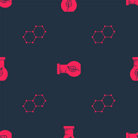 Set Chemical formula and Test tube and flask on seamless pattern. Vector