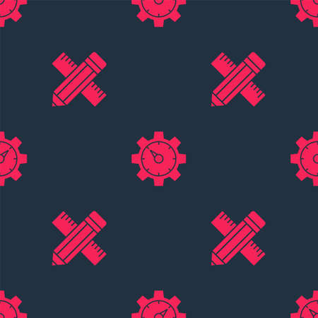 Set Crossed ruler and pencil and Website statistic on seamless pattern. Vector
