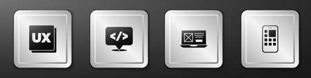 Set UI or UX design, Front end development, and Mobile Apps icon. Silver square button. Vector Illustration