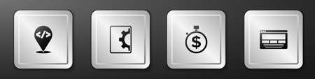 Set Front end development, Web, Time is money and UI or UX design icon. Silver square button. Vector