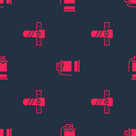 Set Knife holster and Hand smoke grenade on seamless pattern. Vector
