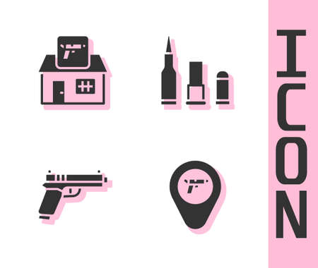 Set Location with weapon, Hunting shop, Pistol or gun and Bullet icon. Vector