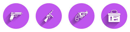 Set Pistol or gun, Tommy, Small revolver and Military ammunition box icon with long shadow. Vector