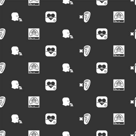 Set Deaf, Lungs x-ray, Vomiting man and Heart rate on seamless pattern. Vector