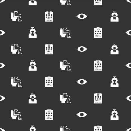 Set Blindness, Nurse, Constipation and Eye test chart on seamless pattern. Vector Stock Illustratie