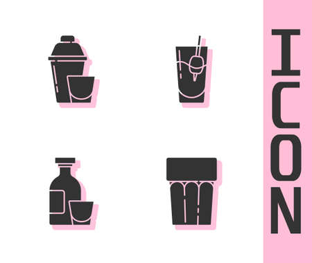 Set Glass with water, Cocktail shaker, Alcohol drink Rum and Bloody Mary icon. Vector. Vettoriali
