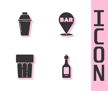 Set Champagne bottle, Cocktail shaker, Glass with water and Alcohol bar location icon. Vector