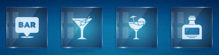 Set Alcohol bar location, Martini glass, Cocktail and Whiskey bottle. Square glass panels. Vector Ilustracja