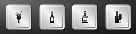 Set Cocktail, Champagne bottle, Whiskey and Wine with glass icon. Silver square button. Vector