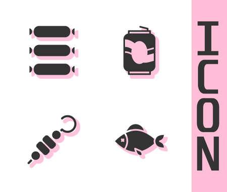 Set Fish, Sausage, Grilled shish kebab and Soda can icon. Vector
