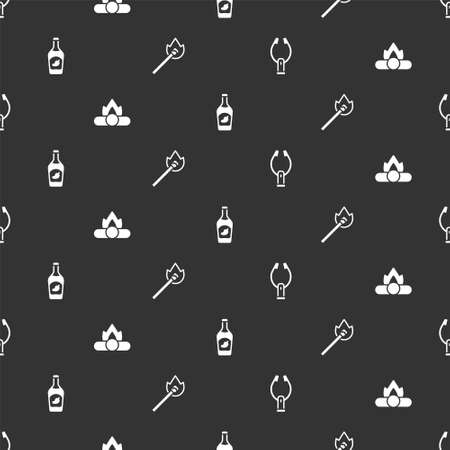 Set Meat tongs, Campfire, Ketchup bottle and Burning match with on seamless pattern. Vector
