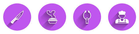 Set Meat chopper, Homemade pie, tongs and Cook icon with long shadow. Vector