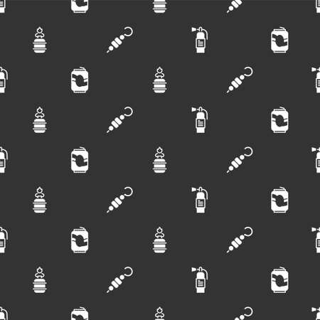 Set Fire extinguisher, Soda can, Camping gas stove and Grilled shish kebab on seamless pattern. Vector Vettoriali