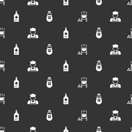 Set Barbecue grill, Cook, Tabasco sauce and Pepper on seamless pattern. Vector
