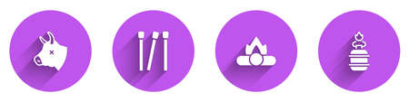 Set Cow head, Matches, Campfire and Camping gas stove icon with long shadow. Vector