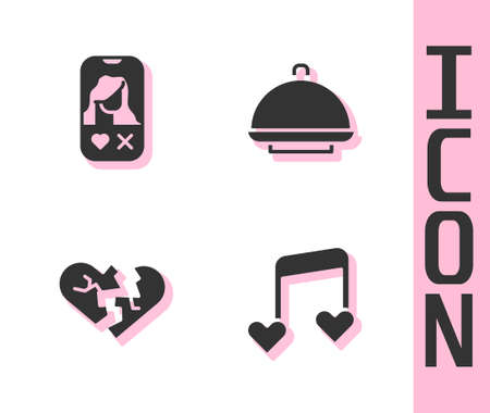 Set Music note, tone with hearts, Dating app online, Broken or divorce and Covered tray icon. Vector