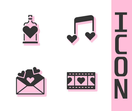 Set Play Video with heart, Bottle love potion, Envelope Valentine and Music note, tone hearts icon. Vector Ilustracja