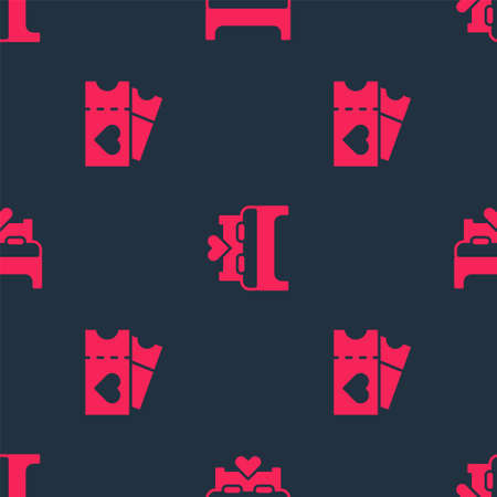 Set Love ticket and Bedroom on seamless pattern. Vector