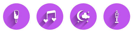 Set Ice cream, Music note, tone with hearts, Moon and stars and Burning candle icon with long shadow. Vector