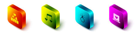Set Isometric Couple in love, Music note, tone with hearts, Diamond engagement ring and Dating app online icon. Vector