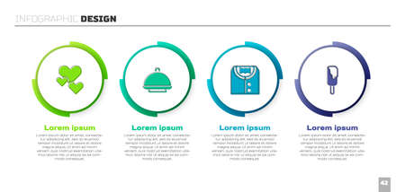 Set Heart, Covered with tray, Suit and Ice cream. Business infographic template. Vector Ilustracja