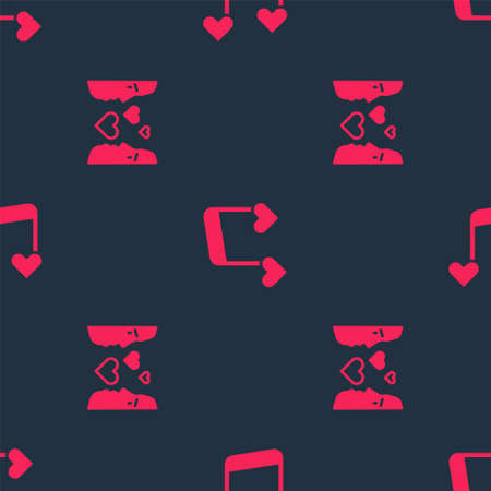 Set Love at first sight and Music note, tone with hearts on seamless pattern. Vector