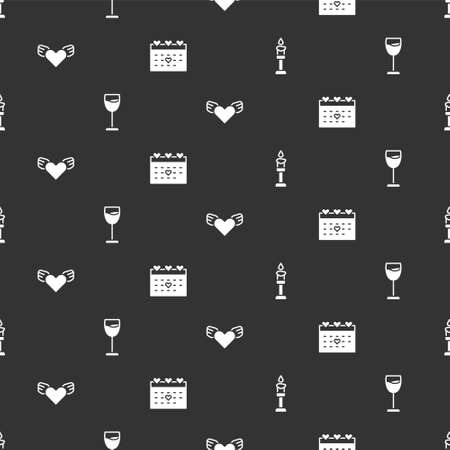 Set Burning candle, Wine glass, Heart with wings and Calendar heart on seamless pattern. Vector