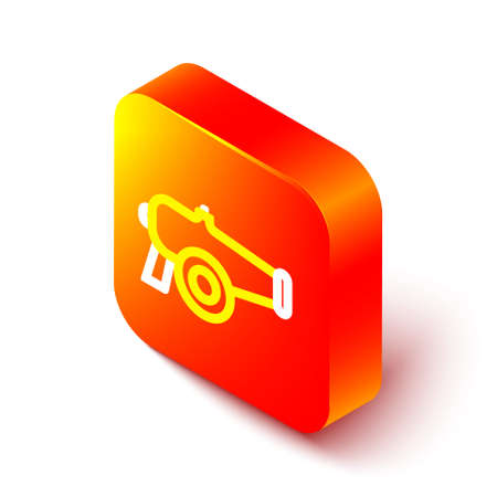 Isometric line Cannon icon isolated on white background. Orange square button. Vector 向量圖像