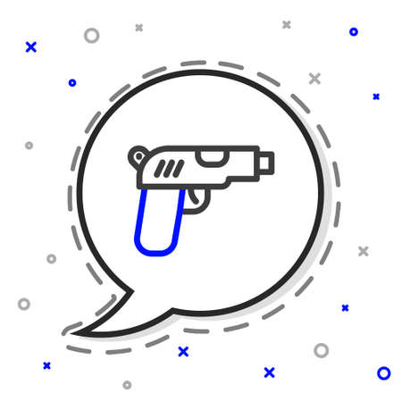 Line Pistol or gun icon isolated on white background. Police or military handgun. Small firearm. Colorful outline concept. Vector 向量圖像