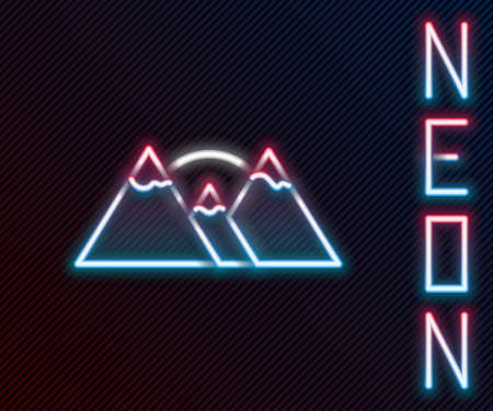 Glowing neon line Mountains icon isolated on black background. Symbol of victory or success concept. Colorful outline concept. Vector