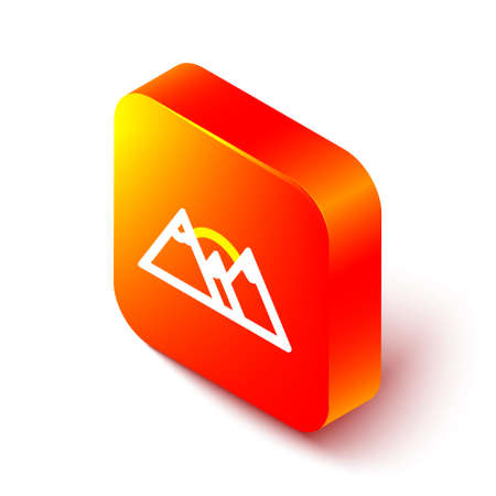 Isometric line Mountains icon isolated on white background. Symbol of victory or success concept. Orange square button. Vector
