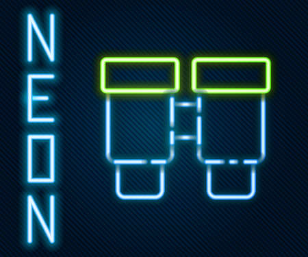 Glowing neon line Binoculars icon isolated on black background. Find software sign. Spy equipment symbol. Colorful outline concept. Vector 矢量图像